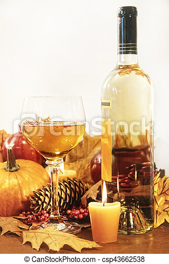 Festive decorations with wine and candles for Thanksgiving - csp43662538