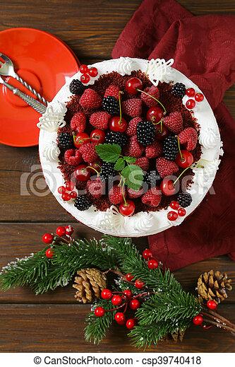 festive dessert Christmas cake - csp39740418
