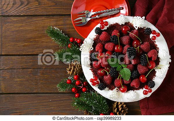 festive dessert Christmas cake - csp39989233