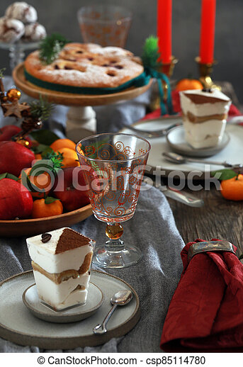 festive dessert table for new year and christmas - csp85114780