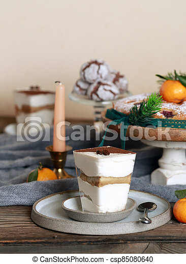 festive dessert table for new year and christmas - csp85080640