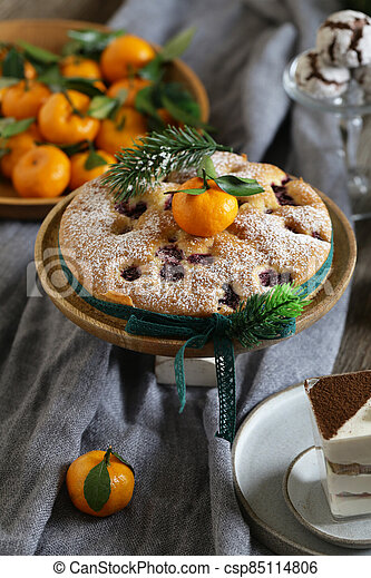 festive dessert table for new year and christmas - csp85114806