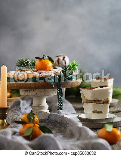 festive dessert table for new year and christmas - csp85080632