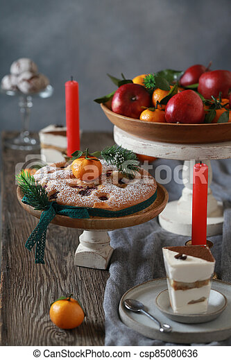 festive dessert table for new year and christmas - csp85080636