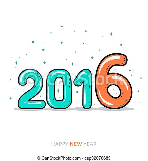 festive doodle design of a card banner new year 2016 csp32076683