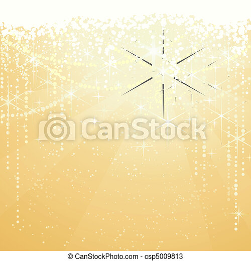 Festive golden background with sparkling stars for special occasions. Great as Christmas or New years background. - csp5009813