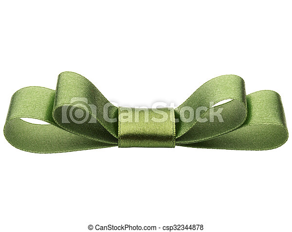 Festive green gift bow isolated on white background cutout - csp32344878