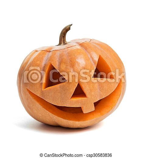 Festive Halloween carved pumpkin - csp30583836