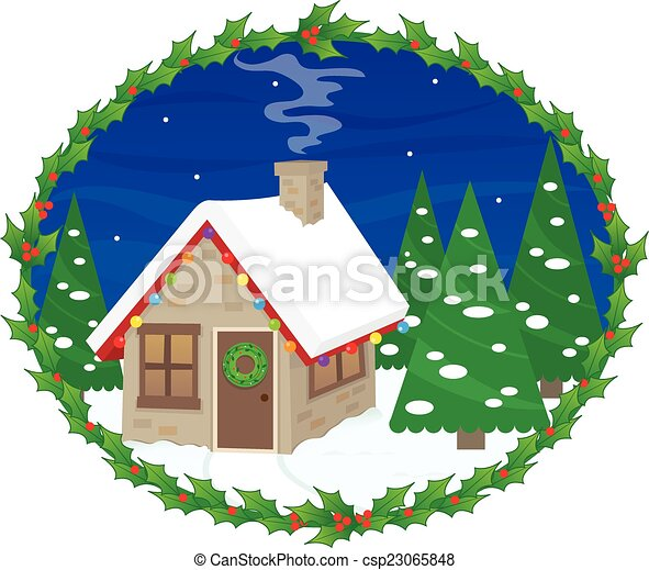 House With Christmas Lights Clipart.Festive House