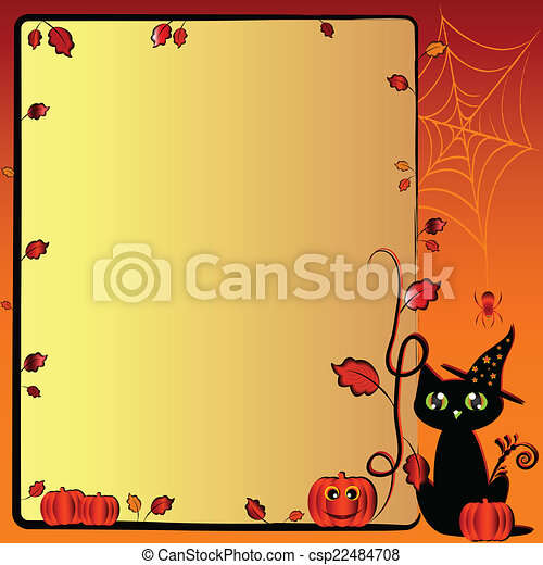 Festive illustration on theme of Halloween with field for text - csp22484708