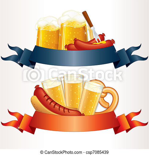 Festive Oktoberfest Banners, Headers with Beer, Wurst and Pretzel. Ready for your own text or design - csp7085439