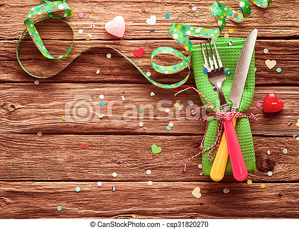 Festive party place setting - csp31820270