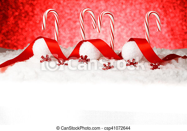 Festive Red and White Peppermint Candy Canes - csp41072644