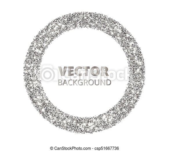 Festive silver sparkle background. glitter border, circle spotted ...