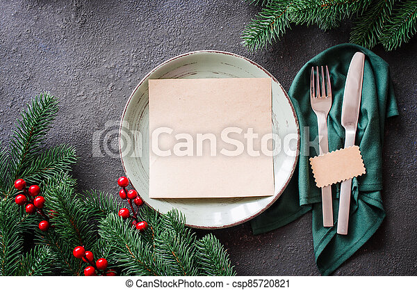 Festive table setting for Christmas or New Year dinner. - csp85720821