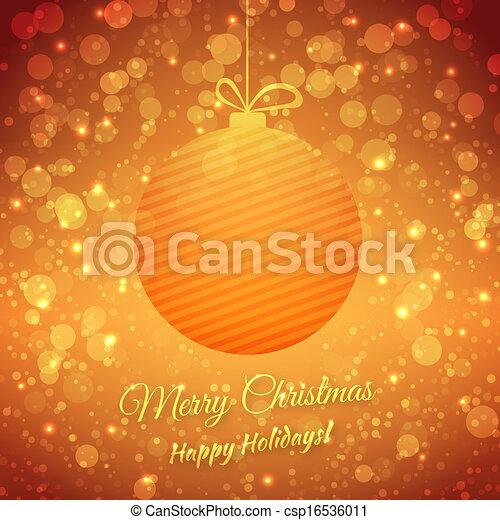 festivo, augurio, sfocato, fondo., holidays., vettore, ball., buon natale, scheda, felice - csp16536011