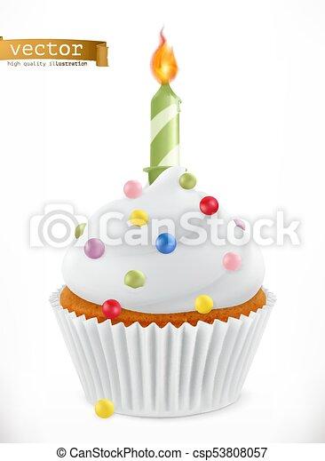festivo, cupcake, realistico, vettore, candle., 3d, icona - csp53808057