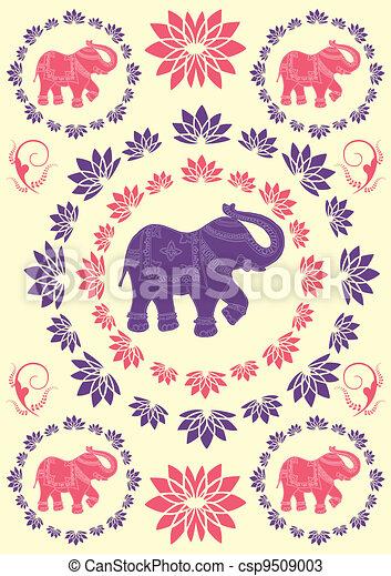 Festivo Elefante Indio Plano De Fondo Típico Indio Tradicional