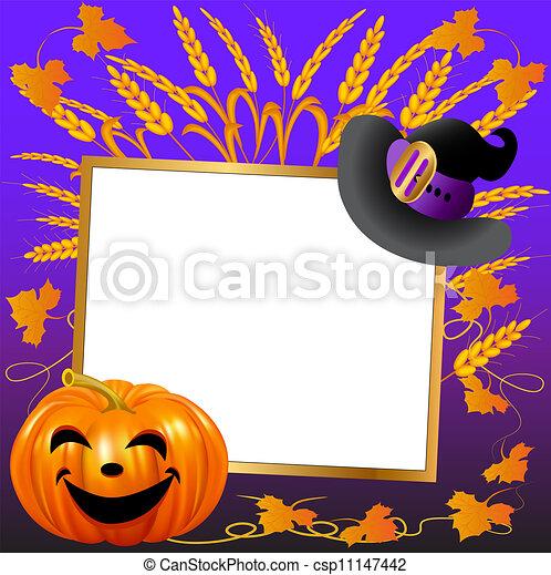 festivo, papel, fundo, mensagem, chapéu, abóbora - csp11147442
