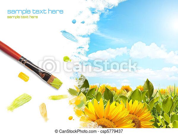 festmény, napraforgó, táj - csp5779437