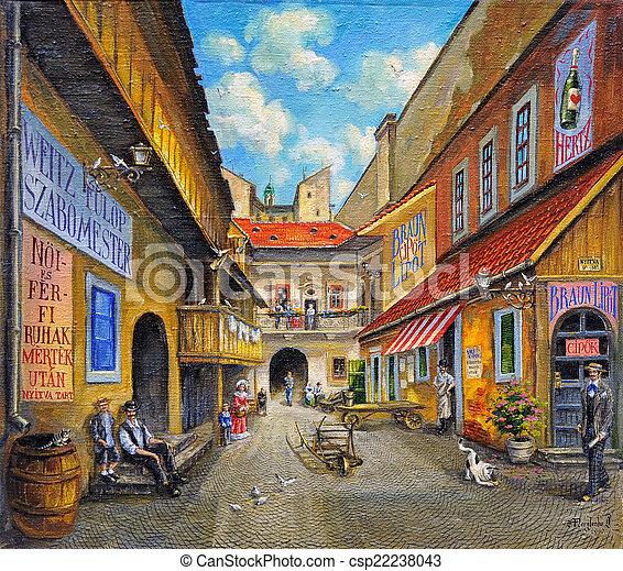 festmény, olaj, öreg templom - csp22238043