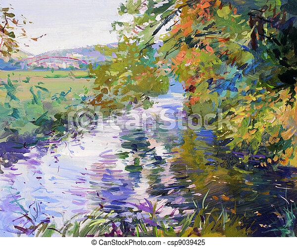 festmény, táj, bukás - csp9039425
