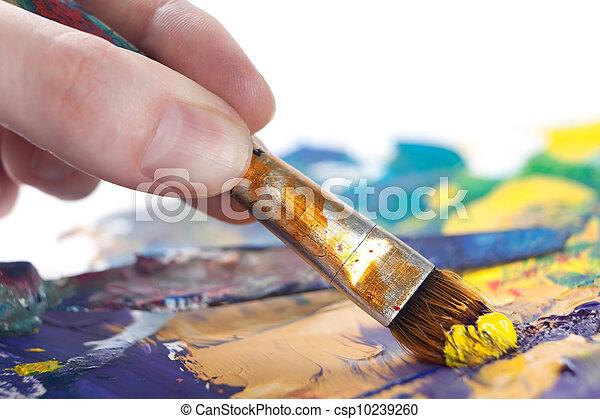 festmény, valaki, valami, ecset - csp10239260