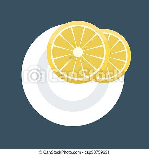 fetta, piastra., due, illustrazione, vettore, cunei, limone - csp38759631