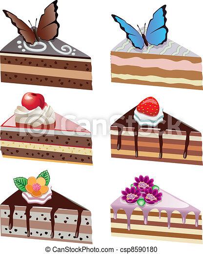 Fette Torta Farfalle Vettore Cioccolato Frutte Fiori
