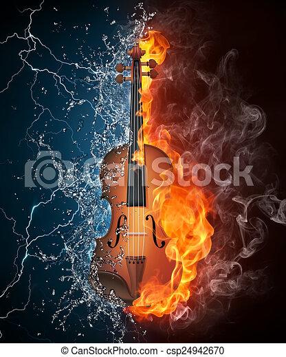 Feuer Geige Wasser Feuer Freigestellt Wasser Schwarzer