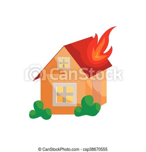 Feuer Ikone Stil Versicherung Karikatur Stil Feuer