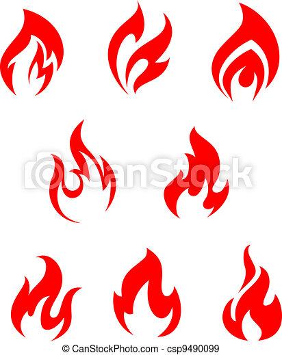 feuer, rotes , feuerflammen - csp9490099