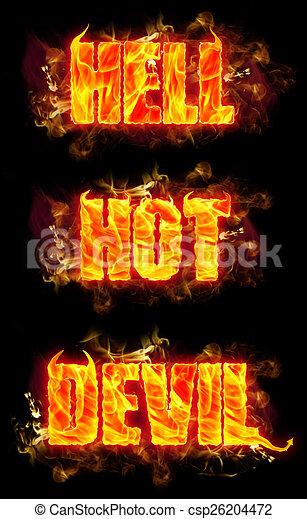 Feuer, text, heiß, teufel, hölle. Teufel, brennender, feuer ...