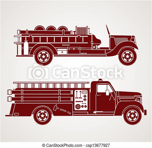 feuer, weinlese, lastwagen - csp13677927