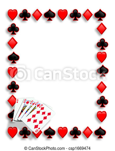 feuerhaken, royal flush, karten, umrandungen, spielende  - csp1669474