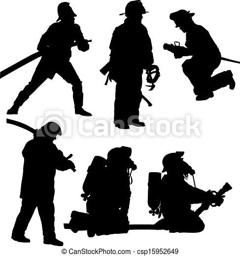 Feuerwehrmann Weißes Silhouette Hintergrund