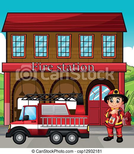 Ein Feuerwehrmann mit einem Feuerwehrwagen in einer Feuerwehr - csp12932181