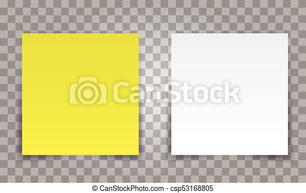 feuille, bureau, épingle, isolé, jaune, ton, note, arrière plan., papier, ombre, poste, blanc, transparent, design.