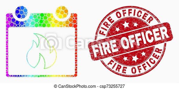 feuille, détresse, brûler, spectre, chaud, vecteur, officier, cachet, calendrier, pixel, icône - csp73255727