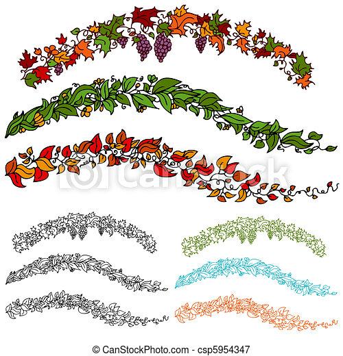 Feuille ensemble vigne fleur ensemble feuille vines image automne fleur - Feuille de vigne dessin ...