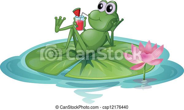 feuille, grenouille, délassant - csp12176440