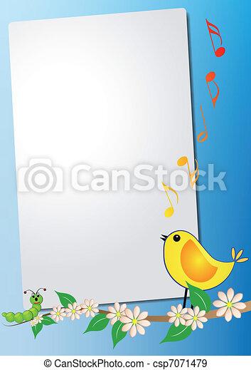 feuille, oiseau, chanson - csp7071479
