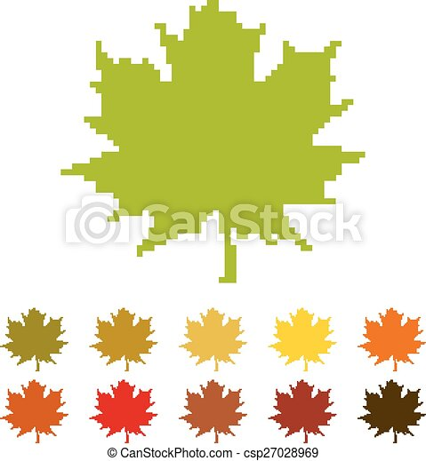 feuille pixel 233rable canada feuille symbole stylis233