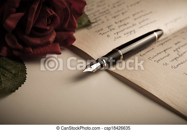 feuille, texte, stylo, papier, fontaine, rose - csp18426635