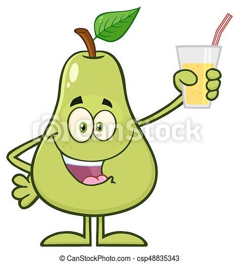 Feuille Verre Caractère Poire Haut Jus Fruit Vert Tenue Dessin Animé Mascotte