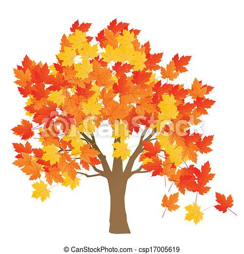 Affiche feuilles arbre automne vecteur fond rable - Dessiner un arbre d automne ...