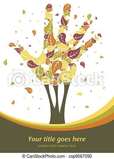 feuilles, arbre., tomber, main - csp9567090
