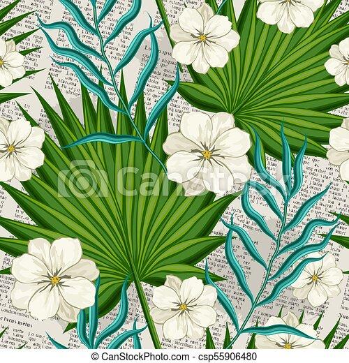 feuilles, arbres, fleurs, paume - csp55906480