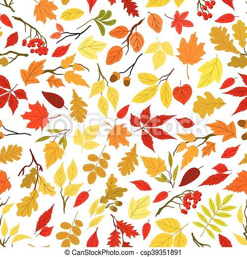 feuilles automne, baies, seamless, fond - csp39351891