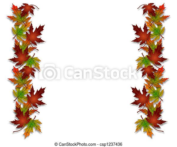 feuilles automne, frontière, cadre, automne - csp1237436